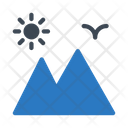 Mountains Sun Travel Icon