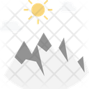 Mountains Hills Sun Icon