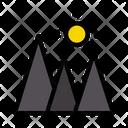 Mountains Hills Sun Icon