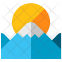 Scenery Mountains Sun Icon