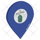Mouse In Map Pin For Showing Location Of Internet Icon