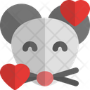 Mouse Smiling With Hearts Icon