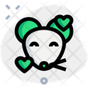 Mouse Smiling With Hearts Animal Wildlife Icon