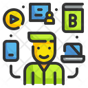Multi Learning Online Education E Learning Icon