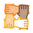 Multiracial Group Hands Icon