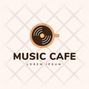 Music Cafe Hot Coffee Cafe Logomark Icon