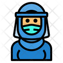 Muslim Woman With Face Shield Icon