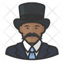 Mustache African Man Tophat Mustache Icon