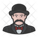 Mustache Inspector Bowler Hat Icon