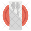 Dining Napkin On Plate Fork And Spoon Icon