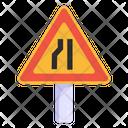 Narrow Ahead Sign Narrow Road Road Post Icon
