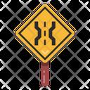 Narrow Road Signage Road Post Traffic Board Icon