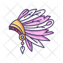 Native Indian American Chief Hat Icon