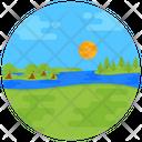 River Lake Nature Landscape Icon