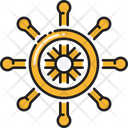 Nautical Wheel Steering Ship Steering Icon
