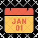 01 January Calendar Newyear Icon