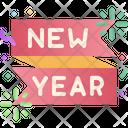 New Year Ribbon Confetti Decoration Icon
