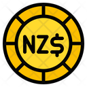 New Zealand Dollar Coin Currency Icon