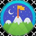 Night Landscape Badge Winter Emblem Medal Icon