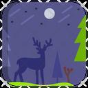 Night Landscape Silhouette Icon