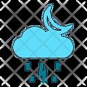 Night Rain Cloud Raining Rain Icon