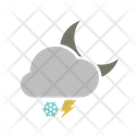 Night Snowfall Lightning Icon