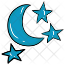 Night Time Midnight Crescent Moon Icon
