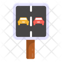 No Overtaking Road Post Traffic Board Icon