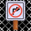 No Turn No Right Turn Traffic Board Icon