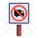 No Truck Road Post Traffic Board Icon
