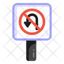 No Turn Road Post Traffic Board Icon