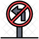 No Turning Left Turn Left Circulation Icon