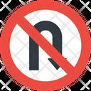 No U Turn Road Sign Icon