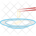 Fork Noodles Spaghetti In Plate Icon