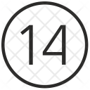 Fourteen Number Digit Icon