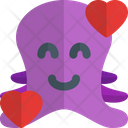 Octopus Smiling With Hearts Icon