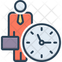 Office Clock Around The Clock Time Is Running Icon