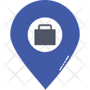 Office Location Briefcase In Map Pin Luggage Location Icon