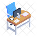 Employee Desk Office Table Computer Table Icon