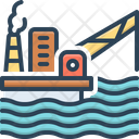 Oil Platform Offshore Development Drilling Icon