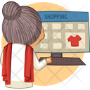 Old Lady Doing Online Shopping Icon