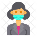 Old Woman With Facemask Icon