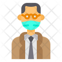Old Man With Facemask Icon