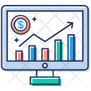 Online Analytics Barchart Report Growth Analysis Icon