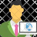 Global Businessman Employee Icon