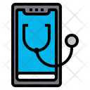 Online Checkup Smartphone Stethoscope Icon