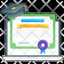 Online Diploma Digital Certificate Online Degree Icon