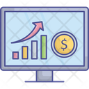 Online Earning Growth Online Graph Dollar Icon
