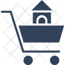 Eshop House Inside Cart Infographic Element Icon
