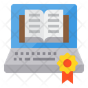 Laptop Book Elearning Icon